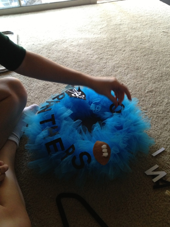 Making a Carolina Panthers Football Wreath