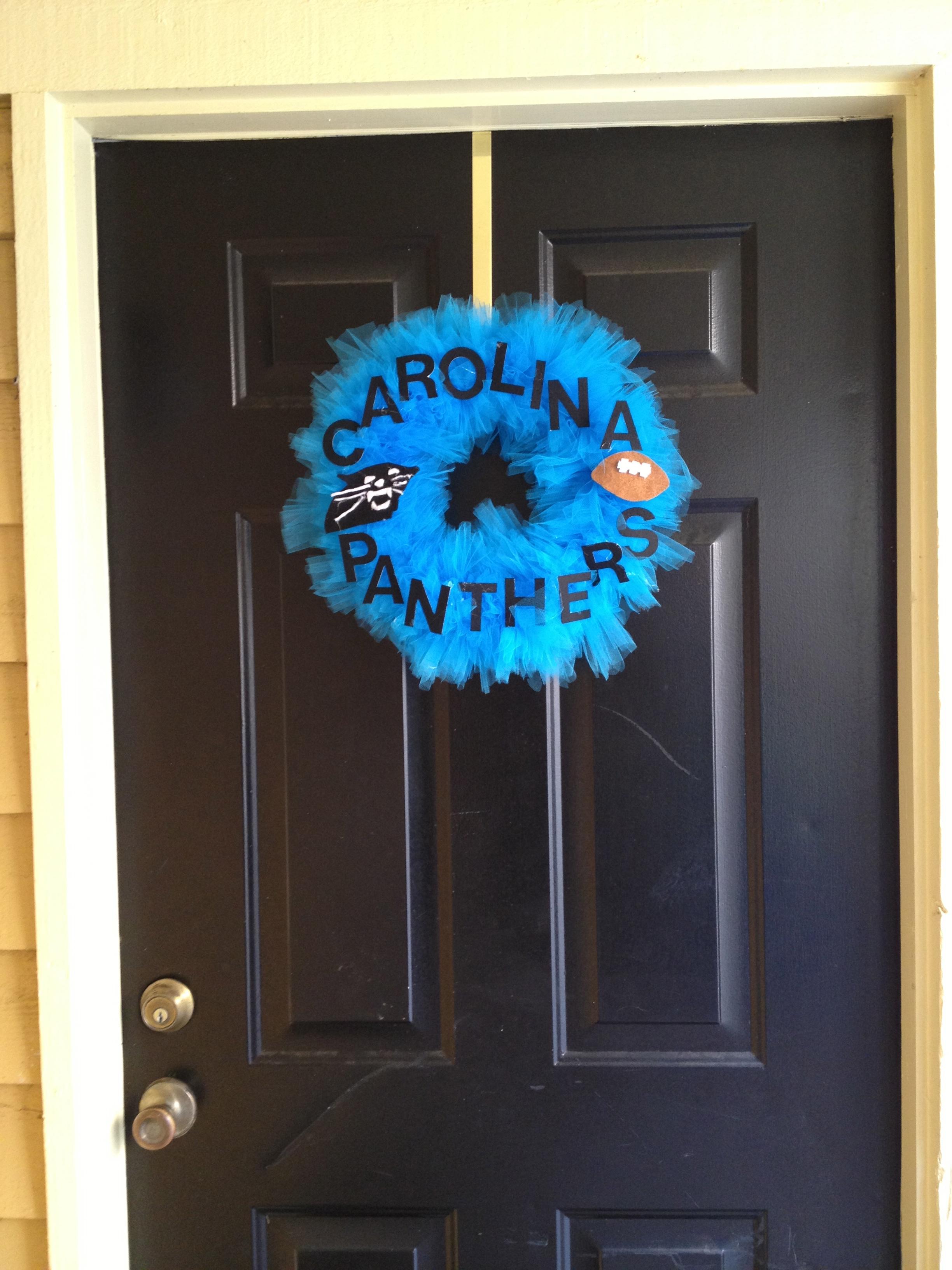 Making a Carolina Panthers Football Wreath