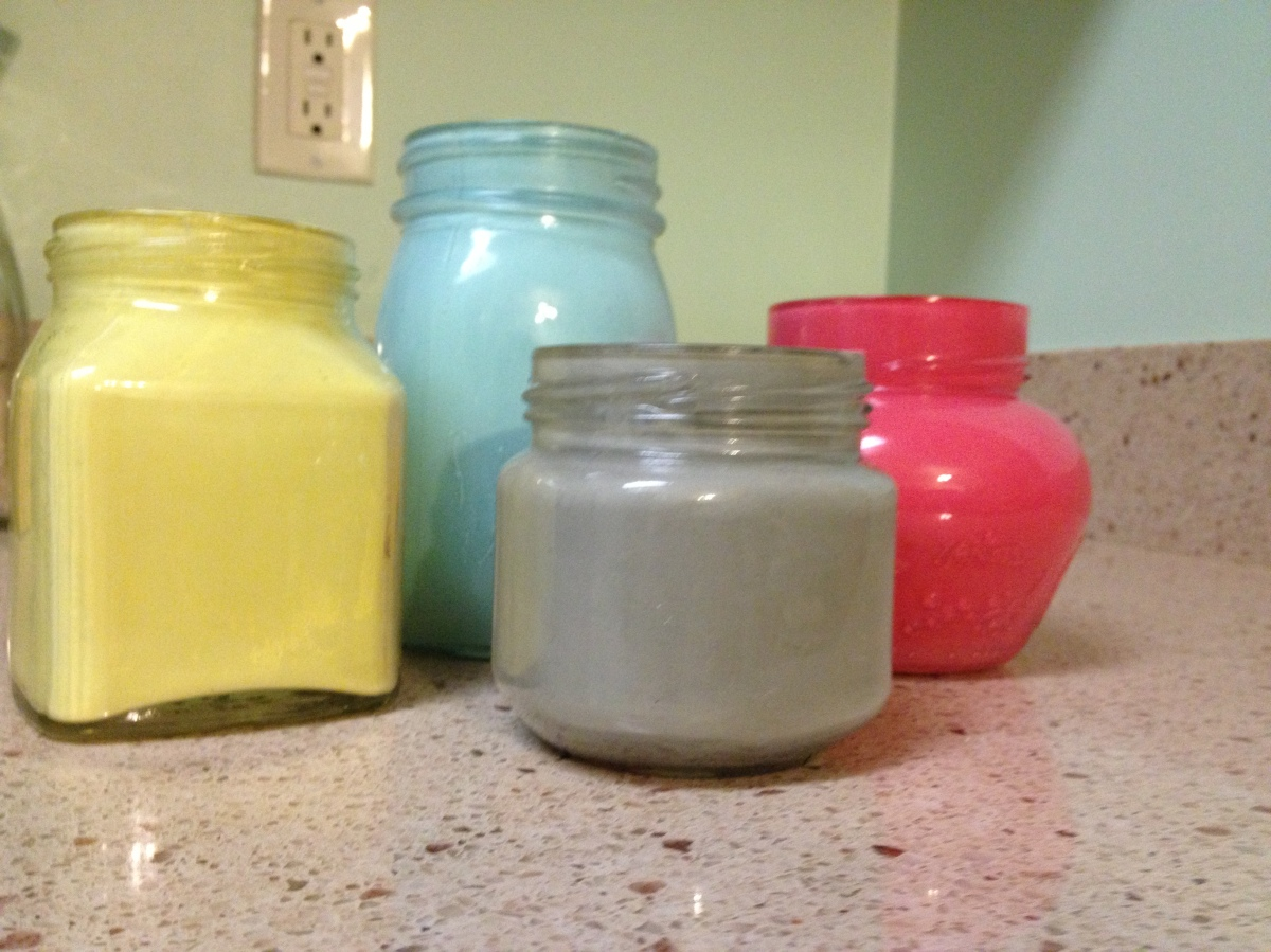Painting glass jars charlestoncrafted for How to paint glass jars
