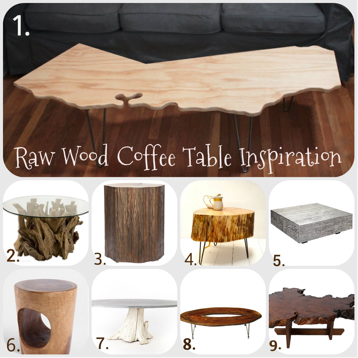 Seeking Inspiration Raw Wood SideCoffee TablesCharleston